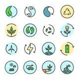 Energii odnawialnych ikony ustawiać ilustracja wektor