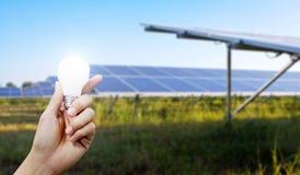 Energii słonecznej żarówka w ręce i panel, energia Obraz Stock