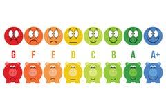 Energii wydajności skala klasowi savings kolorowy prosiątko bank i smiley wektoru ilustracja Obraz Stock
