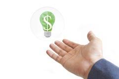 energii zielona ręki lampa Fotografia Royalty Free