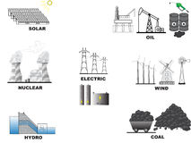 Energikällor stock illustrationer