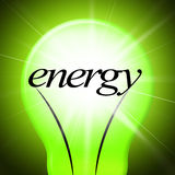 Energilightbulben visar jorddag och Eco-vänskapsmatch Arkivbilder