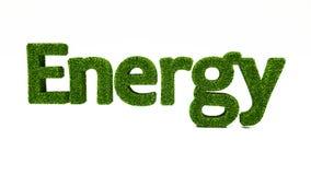 ENERGIord för tolkning som 3D göras av grönt gräs stock illustrationer