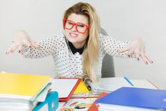 Energized business woman in office Stock Images