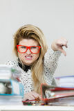 Energized business woman in office Royalty Free Stock Photos