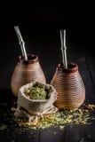 Energizing yerba mate with calabash and bombilla Royalty Free Stock Photo