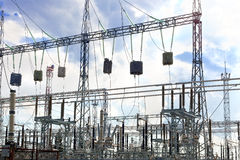 Energo Substation and  Power Transmission Lines in  big city Royalty Free Stock Photos