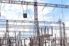 Energo Substation and  Power Transmission Lines in  big city Stock Photo