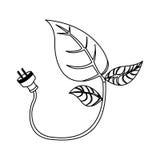 energooszczędne liść żarówki z władza kabla ikoną Obraz Royalty Free