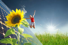 Energy. Solar energy. If it goes well to our environment, it also goes well to us Stock Photos