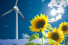 Energy. Solar and wind energy for clean environment Royalty Free Stock Photography