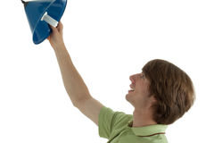 Energy. Young man looks pleased an energy saving lamp stock photo