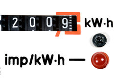 Energy of 2009. An old analogue active energy meter dial-plate with 2009 year number stock photography