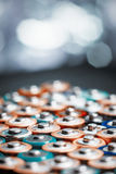 Energy abstract background of colorful batteries. Stock Image