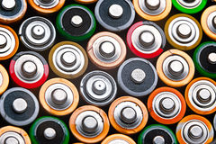 Energy abstract background of colorful batteries Royalty Free Stock Photography