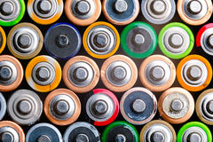 Energy abstract background of colorful batteries Royalty Free Stock Image