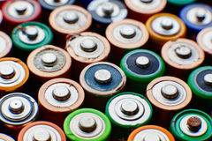 Energy abstract background of colorful batteries. Royalty Free Stock Photos