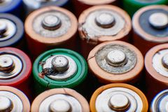 Energy abstract background of colorful batteries. Royalty Free Stock Photography