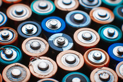 Energy abstract background of colorful batteries. Royalty Free Stock Photo