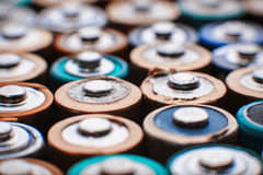 Energy abstract background of colorful batteries. Royalty Free Stock Image