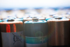 Energy abstract background of colorful batteries. Stock Photography