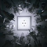 Energy abstract metaphor with plugs in studio 3D render.  Royalty Free Stock Photos