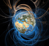 Energy Aura Eclipse Earth East. Earth emanating an aura of energy fields, Eastern Hemisphere Stock Image