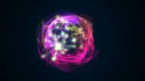 Abstract energy ball rotating on black background 3d illustration. Energy ball rotating on black background 3d illustration Stock Image