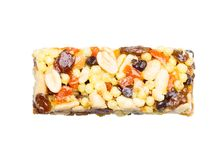 Energy bar with honey, nuts and cereals. Isolated. White background royalty free stock photo