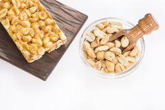 Energy bar with peanut seeds royalty free stock image
