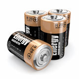 Energy batteries. On white backround. Three-dimensional image. 3d Stock Image
