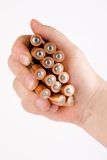 Energy of batteries in a hand Stock Photo