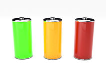 Energy battery on white background. 3D rendered green, yellow  and red  battery on white background Royalty Free Stock Image