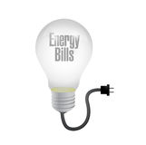 Energy bills light bulb and cable. illustration Stock Images