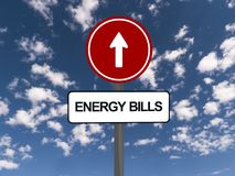 Energy bills and up arrow Stock Photo