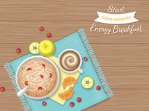 Energy Breakfast. Food, bakery,drink, fruit. Oatmeal Porridge with berries, croissants, coffee with foam, apple slices on a napkin. And wooden table. Top view Royalty Free Stock Photography