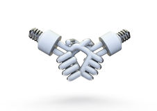 Energy bulb handshake Stock Photography