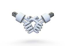 Energy bulb handshake. 3D render of energy bulbs shaking hands Stock Photography