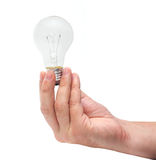 Energy bulb in man hand Royalty Free Stock Photos
