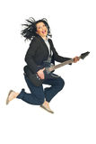Energy business  woman with guitar Stock Images