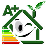 Energy Certification A+. Green house stylized with certification electric output A Stock Photos