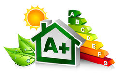 Energy certification with house. A + Class stock illustration