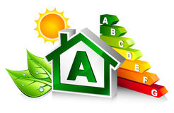 Energy certification with house. A Class vector illustration