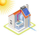 Energy Chain 06 Building Isometric. Clean Energy House Solar Panels Infographic Icon Concept. Isometric 3d Soften Colors Elements. Heating Providing Chart Scheme Royalty Free Stock Photos