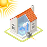 Energy Chain 02 Building Isometric. Heat Pump House Cooling System Infographic Icon Concept. Isometric 3d Soften Colors Elements. Air Conditioner Cool Providing Stock Photography