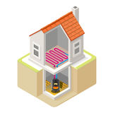 Energy Chain 07 Building Isometric Royalty Free Stock Photography