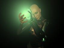 Energy charge. Female cyborg charges up energy Stock Images