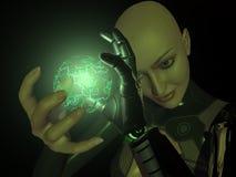 Energy charge. Female cyborg charges up energy Stock Photos