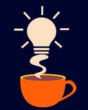 Energy charge. Cup of coffee with smoke in the form of a symbol of new ideas Royalty Free Stock Photography