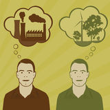 Energy choices. Two identical men think about pollution and green energy Stock Image